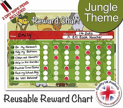 Reusable Jungle Theme Reward Behaviour Chart for Children - 2 Dry Wipe Pens inc.