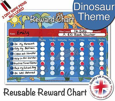 Reusable Dinosaur Reward Chart Childrens Child Behaviour - 2 Dry Wipe Pens
