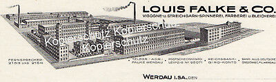 WERDAU-Vigogne-u. Streichgarn-Spinnerei Louis Falke & Co -Original Briefpapier!