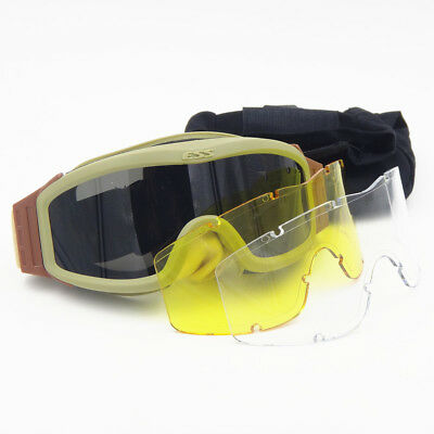 ESS Profile NVG Ballistic Goggles Tactical Military Airsoft Safety Glasses 3Lens