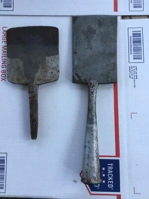 2 Antique Vintage Hand Forged Iron Ice Scraper Antique Old Wrought iron