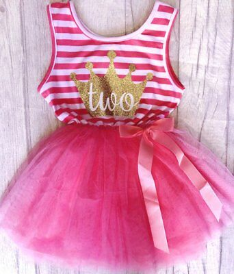 Hot Pink Party Evening Dress Black Bow ONE PIECE Tutu Pettiskirt Girl 2-8Y PD003