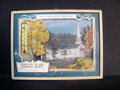 Vintage Advertising Framed Picture Thermometer w Calendar 1965 Yadkinville, NC