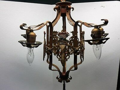 Antique Vintage Art Deco Nouveau Spanish Revival Polychrome 5 Light Chandelier