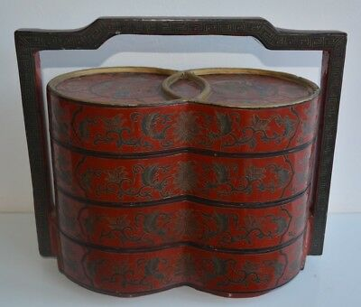 Antique Oriental Lacquer stackable  Picnic Carrier Dowry Wedding Basket / Box