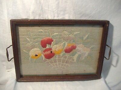 Antique Primitive Framed Needlework Tray Flower Basket Wool Yarn Tapestry