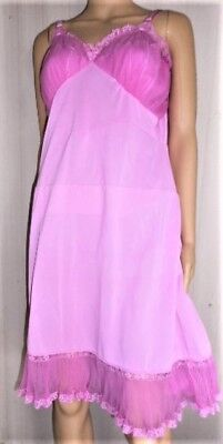 Vintage Shadowline Orchid Pink Crystal Pleated Nylon & Lace  Full Slip 40