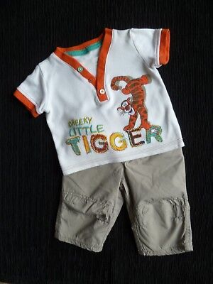 Baby clothes BOY 0-3m outfit Disney Tigger short sleeve top/beige lined trousers