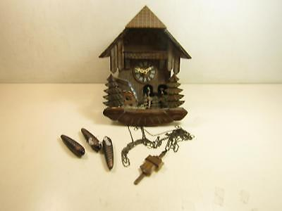 Black Forest Cuckoo Clock Water Mill Motif With Pendulum & Weights