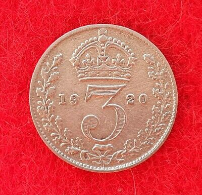 George V Silver Three Pence Coin 1920 (170)