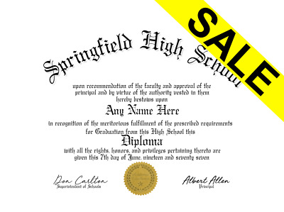 Fake UnBordered High School Home School Diploma /w Gold Seal Novelty Gag