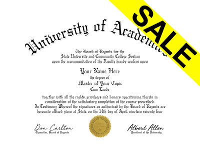Fake UnBordered University College Diploma /w Embossed Gold Seal Novelty Gag