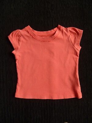 Baby clothes GIRL 12-18m M&S deep coral pink soft short sleeve t-shirt SEE SHOP!