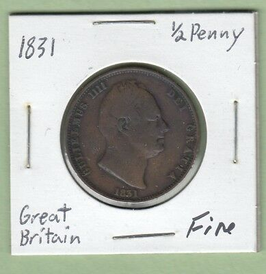 1831 Great Britain 1/2 Penny Coin - William IV - Fine