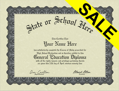 Fake Bordered GED General Education Diploma Novelty Gag