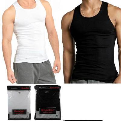 1 Men A-shirt Slim Muscle Tank Top Cotton Casual Ribbed Sleeveless Gym Tee S-2XL