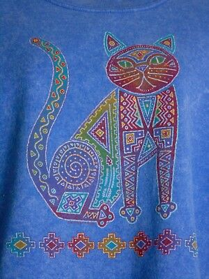 Vintage 80s Womens Sweatshirt Southwestern CAT Aztec Ethnic Tribal Marbled Blue