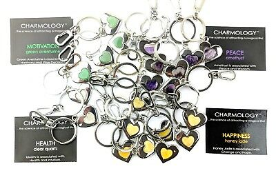Job Lot Wholesale 21 X Gemstone Heart Keyring Bag Charm Amethyst Quartz A235
