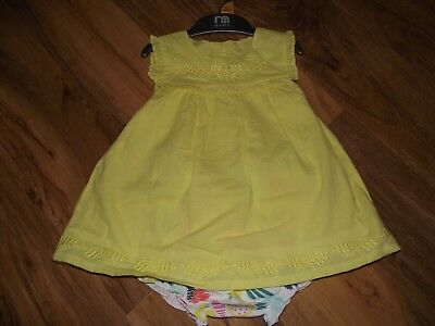 Mothercare Baby Girls Yellow Dress with Bloomers Age 9 - 12 Months - New
