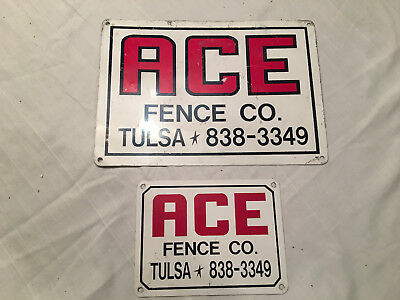 2 Vintage ACE Fence Sign Great Colors