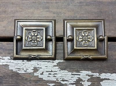 """2 Vtg Fancy Square BRASS Pull Handle Drawer Sewing Machine Cabinet 1 3/4"""" CC"""