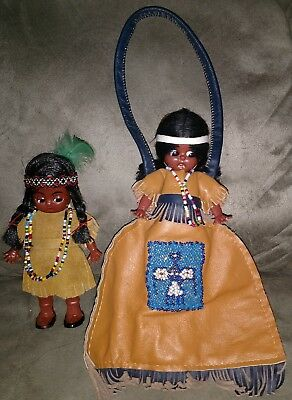 Vintage Native American Indian Doll And Half Doll Purse With Clothing Novelty
