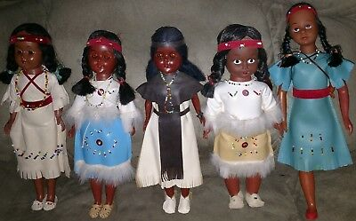 Vintage Native American Indian Dolls With Clothes Papoose Babies Cherokees