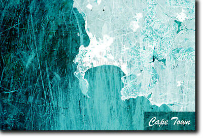 Cape Town, South Africa Map Poster Art Print - Blue Stroke - Photo Gift