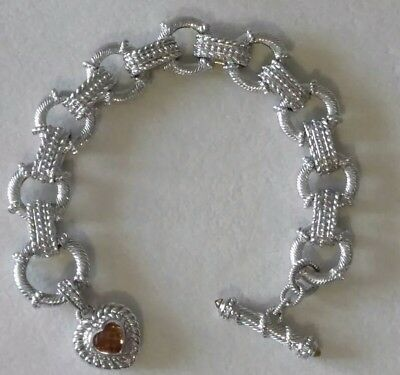 027c29947f46f JUDITH RIPKA -STERLING Silver Toggle Bracelet with Citrine Heart Charm!