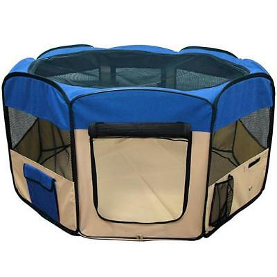 Pet Playpen Dog Puppy Folding Exercise Kennel 45 Inch Blue NEW