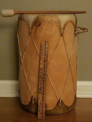 Vtg Hand Crafted - Large Folk Art Indian  Drum 16 Inches Tribal