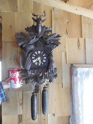 Nice Running 8 Day Hunters Style Cuckoo Clock Made In Germany