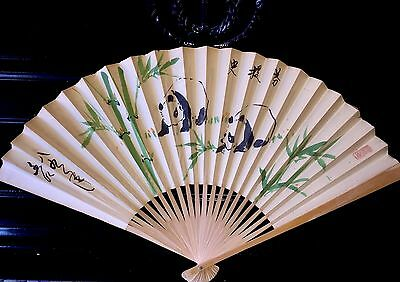 """Antique 21"""" Chinese Paper Wood Fan Hand Painted Panda Bears Bamboo Calligraphy"""