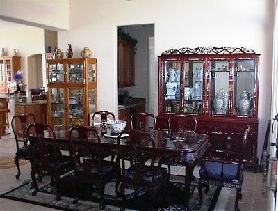 antique chinese diningroom table and 8chairs cherrywood inlaid mother of pearls