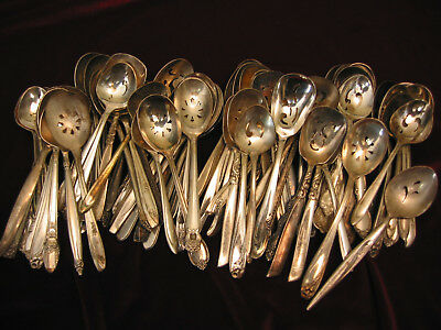 Lot of 75 Pierced Silverplate Sugar Spoons Asst Craft Vintage Flatware