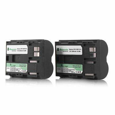 Powerextra 2 Pack 2200mA BP-511 BP-511A Replacement Battery for Canon EOS 5D, 50