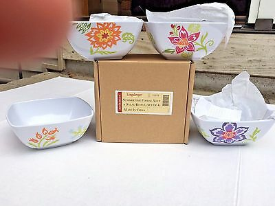Longaberger Summertime Summer Time Floral New In Box Set 4 Soup Salad Bowls
