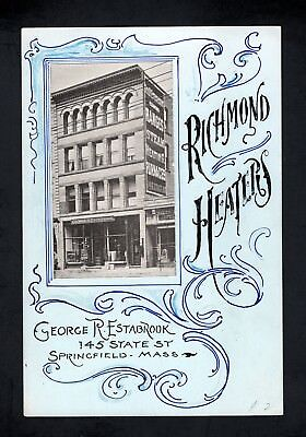 1890s Advertising Sign  - RICHMOND HEATERS - Real Photo - Springfield MA