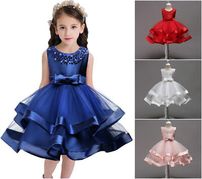 New Little Pearls Tulle Girls Dress Princess Wedding Birthday Party Kids Clothes