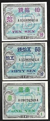 Japan - Set/3 Allied Military Currency (AMC) WWII - XF to Unc.