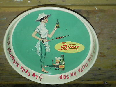 Squirt Soda Metal Tip Tray Advertising Sign 1950s Mexico Attractive Lady Rare