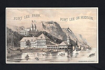 Scarce1880s Trade Card Folder - Ft Lee Park Hotel Steamboat Time Table