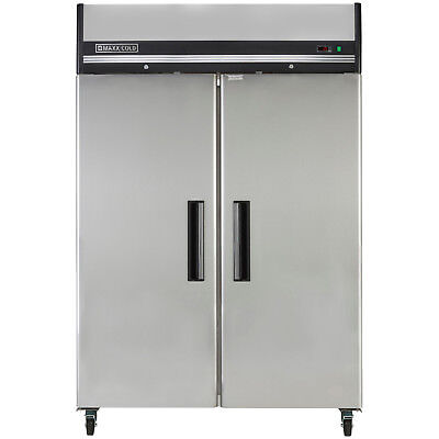 Maxx Cold 54in 49cf Commercial Two 2 Door Reach-In Stainless Refrigerator Cooler