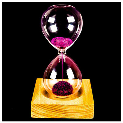 Pink wood + glass + iron powder sand iron flowering magnetic hourglass with pack