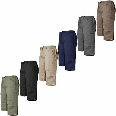 New Mens Plain 3/4 Shorts Cargo Combat Casual Summer Beach Cotton Pockets Pants