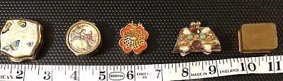 Vintage Pill Box Collection of 5 Stratton England Purse Enamel butterfly