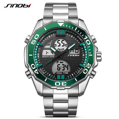 2018 Luxury Mens Watch Fashion Casual Sport Full Steel Digital Quartz Wristwatch