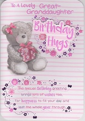 Great Granddaughter To A Lovely Birthday Card