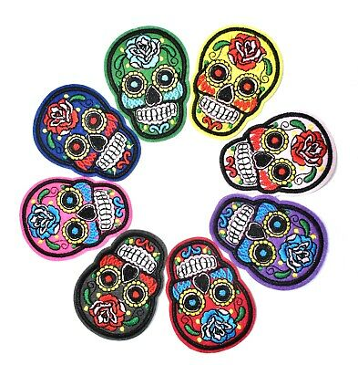 8 ECUSSONS TETE DE MORT MEXICAINE CALAVERA  EMBROIDERED PATCH SKULL 7 cm