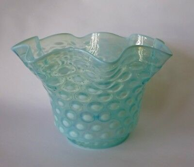 Antique Victorian Dimple Glass Oil Lamp Light Shade Blue Opaline Opalescent